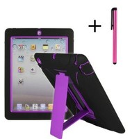 Cellular360,LLC Shocks and Drops Proof Heavy Duty Case with Portrait and Landscape Viewing Kickstand W/ Free Stylus for Apple iPad 2 iPad 3 iPad 4 -Silicone Outer Layer with Dirt-proof Caps and Anti-Slip Design +Snap-fit Hard PC Cover Inner layer with a Sl