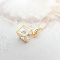 Gold cube necklace Gold necklace Crystal necklace Dainty necklace Christmas Gift bridesmaids Gift mom Birthday Gift best friend Birthday