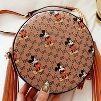 GUCCI & Disney New fashion more letter mouse print leather round shoulder bag crossbody bag