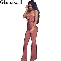 Glamaker Off shoulder tassel slim jumpsuit Spring casual elegant jumpsuit romper 2016 Sexy women two piece outfits overalls