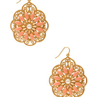 FOREVER 21 Delicate Filigree Drop Earrings Gold/Peach One