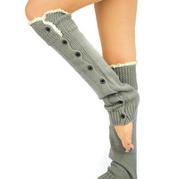 Lace Trim Boot Socks GREY Leg Warmers - gray boot socks knit legwarmers Boot toppers Women's leg warmers button down socks lace trim socks