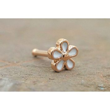 14kt Rose Gold Daisy Nose Stud Nose Ring