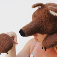 Needle Felted Bear Hat and Paws Costume