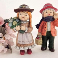Children Figurines German Boy and Girl Colorfully Hand Painted Mid-Century Vintage Home Decor Hard Molded Plastic Doll House Village People