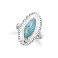 Oxidized Marquise Turquoise Ring