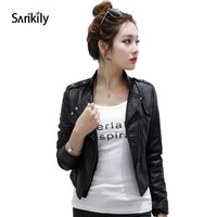 Sarikily Women Autumn Winter Pu Leather Jacket Short Slim Coat Motorcycle Women Faux Soft Leather Jackets Moto Coat Outerwear