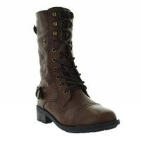Dream Pairs REPLAY Round Toe Lace up Sweater Cuff Military Combat Boots Black
