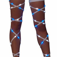 Blue & White Light-Up Leg Wraps