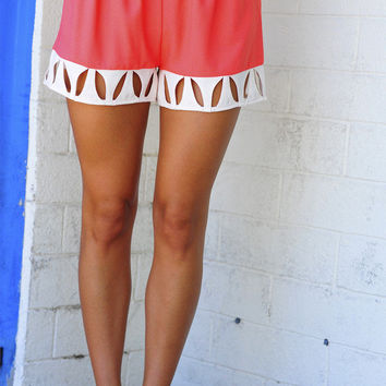Classy And Cutouts Shorts: Coral/Ivory   Hope's