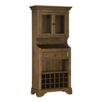 Hillsdale Tuscan Retreat Tall Slanted Wine Rack w/ 2 Glass Doors on Top & Bottom Wine Cubby in Antique Pine