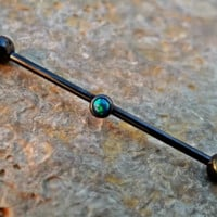 Opal Industrial Piercing Barbell Dark Green 14ga Upper Ear Piercing Body Jewelry Earring Black Barbell