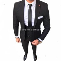 Black Costume Homme Skinny Formal Wedding Suits For Men Custom Made Mens Suits With Pants Ternos Masculino Slim Fit Tuxedo 2018