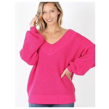 Balloon Sleeve Double V Neck Oversized Hot Pink Sweater