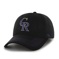 MLB Colorado Rockies Game Time Closer Stretch Fit Hat, One Size, Black