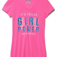 Girl's Under Armour 'Girl Power' Charged Cotton V-Neck Tee,