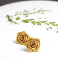 Golden roses polymer clay stud earrings - polymer clay jewelry - post earrings - floral earrings