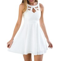Women Sexy Dress Sleeveless Spliced White Lace Mini Dresses Summer Ladies Backless Hallow Out Party Dress #L