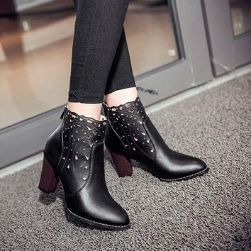 Cutout Women's High Heeled Ankle Boots