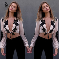 New 2016 summer style Fashion v- neck T-Shirt  long  sleeve tee Tops Female sexy  Crochet perspective t-shirt