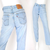 Vintage 90s High Waist Levi's 512 Slim Fit Jeans - Size 4 - Women's Stone Washed High Rise Light Chambray Blue Denim Mom Jeans - 26 Waist