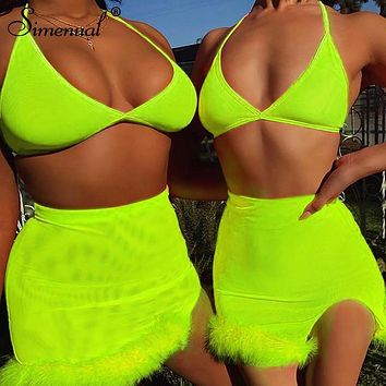 Simenual Neon Color Sexy Women Two Piece Outfits Hot Side Slit Party Matching Sets Backless Bralette And Mini Skirt Set Summer