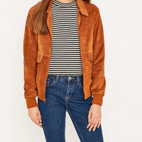 Urban Renewal Vintage Remnants Collared Brass Suede Bomber Jacket - Urban Outfitters