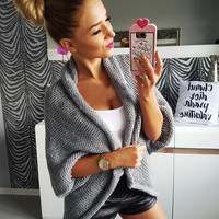 Kaywide 2016 Autumn Winter Female Open Stitch Sweaters Women Thick Warm European 3/4 Sleeve Oversize Knitted Cardigans B2150