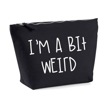 I'm A Bit Weird His And Hers Canvas Case Toiletry Bathroom Travel MakeUp Cosmetics Gift Washbag (Has Matching I Love Weird Product)