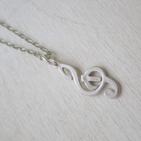 Treble Clef Necklace - Little Music Note on Silver Chain