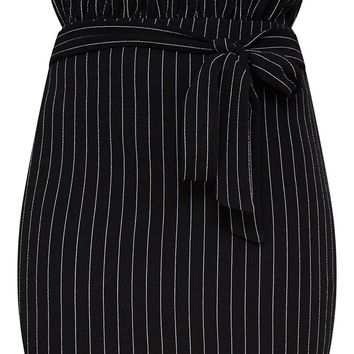 Black Pinstripe Paperbag Mini Skirt
