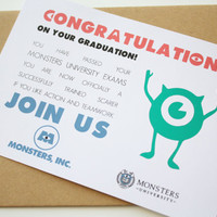 Graduation card Monsters Inc Card - Congratulations on your graduation