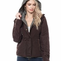 LE3NO Womens Lightweight Casual Quilted Puffer Jacket with Fleece Hoodie