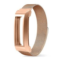 Fitbit Alta Band, UMTETE Fully Magnetic Closure Clasp Mesh Loop Milanese Stainless Steel Replacement Accessory Bracelet Strap with Metal Frame for Fitbit Alta Fitness Tracker Silver