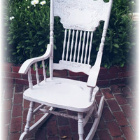 Rocking chair, pink rocking chair, cottage rocking chair, nursery rocking chair, Distressed rocking chair, rustic chair, vintage rocker