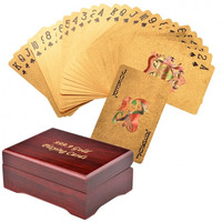 Hot Fashion 54 Pieces Gold Foil Plated Plastic Poker Game Entertainment Playing Cards Set With Case