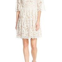 Eliza J Bell Sleeve Lace Fit & Flare Dress (Petite) | Nordstrom