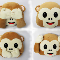 1pcs New Emoji Pillow For Whats app No Speaking No Looking No Listening Emoji Monkey PillowCushion, Stuffed & Plush Monkey Toys