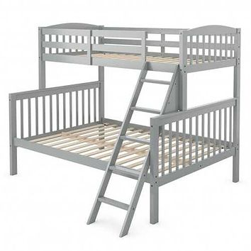 Twin over Full Bunk Bed Rubber Wood Convertible with Ladder Guardrail-Gray