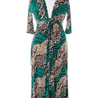 Plus Size Floor Length Abstract Animal Green Dress, Plus Size Clothing, Club Wear, Dresses, Tops, Sexy Trendy Plus Size Women Clothes