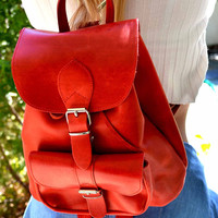Leather Women bag, women backpack, red leather backpack, red bag, real leather