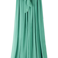 ROMWE Self-tied Drawstring Pleated Sheer Green Skirt
