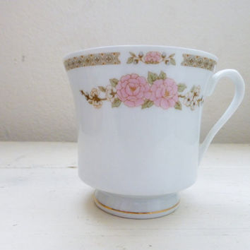 Fairfield China, Spring Mist Pattern, footed tea cup, pink floral, fine china, vintage servingware, housewarming, wedding present