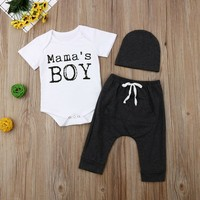 US Newborn Kids Baby Boy 3Pcs Clothes Mama's BOY Romper Pants Cap Outfits Summer