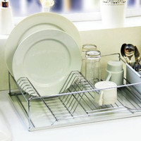 Vanderbilt 3 Piece Stainless Steel Dish Drainer Set, White or Black
