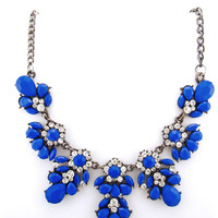 Crystal Floral Statement Necklace - Blue - CLEARANCE