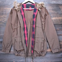 brown anorak faux fur trim hooded jacket