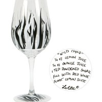 Lolita Love My Party Wild Child 16-Ounce Acrylic Wine Glasses, Set of 2