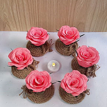 Wedding Centerpieces, Set of 6 roses for decoration. Rustic decoration with flowers
