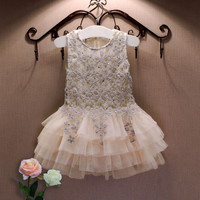 2016 Summer New Lace Vest Girl Dress Baby Girl Princess Dress 3-7 Age Chlidren Clothes Kids Party Costume Ball Gown Beige